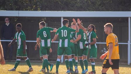 Celebrations as Whitton United make it 2-0 Photo: HANNAH PARNELL