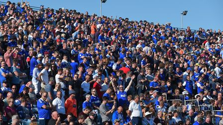 Ipswich Town fans at Gillingham on Saturday. Picture Pagepix