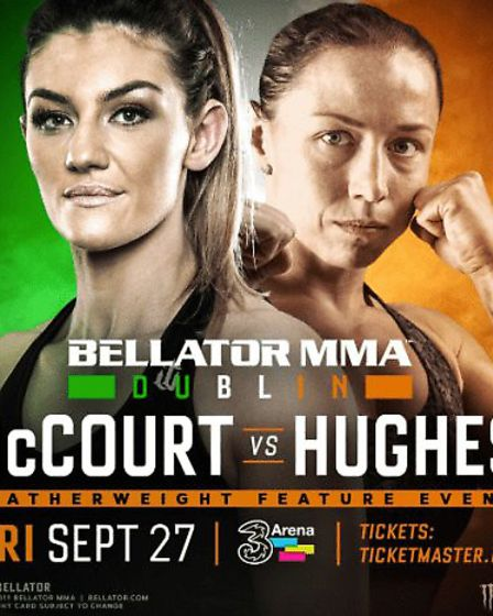 Kerry Hughes, right, fights Leah McCourt at Bellator 227 in Dublin on Friday. Picture: BELLATOR
