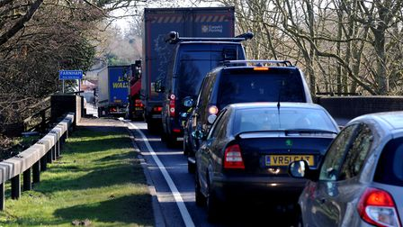 Traffic queing on the A12 at Farnham Picture: SIMON PARKER