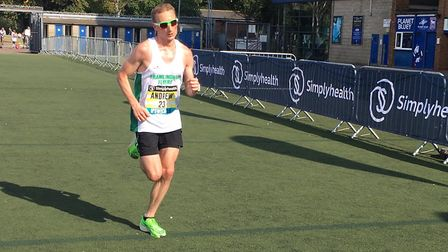 Andrew Rooke approaches the finish to the Simplyhealth Great East Run. Rooke, of Framlingham Flyers,