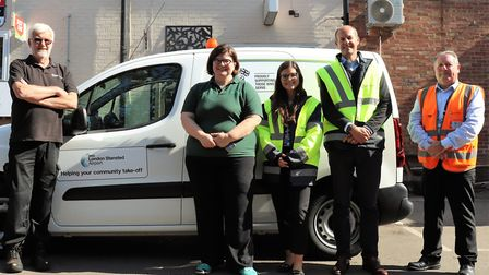 A team of airport volunteers dropped off food and toiletries at Uttlesford Foodbank in Saffron Walde