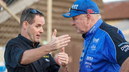 Witches promoter Chris Louis with Pirates team manager Neil Middleditch Picture: Steve Waller w