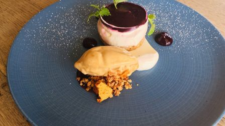 Blackberry cheesecake with roasted apple sorbet