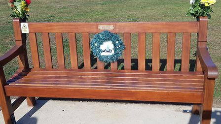 The bench for the couple's son Mark Vice which sits on the cliff top Picture: BARRY GARNHAM