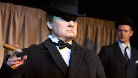 Sally Ann Burnett as Winston Churchill in Saving Our Bacon which is half of an Eastern Angles double