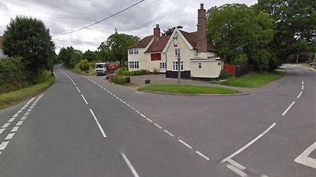 The junction between Station Road, Wickham Road and Westhorpe Road in Finningham where locals are ca