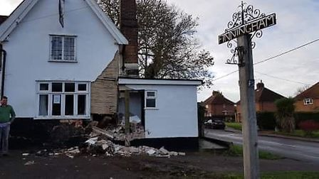The White Horse pub in Finningham, which has been damaged following a crash Picture: RACHEL EDGE