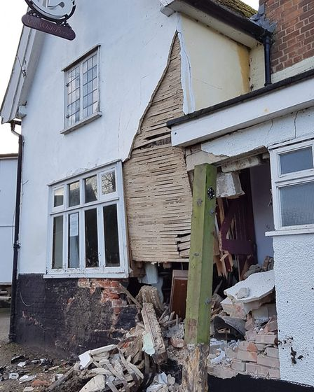 Pictures have emerged showing damage to an historic pub in Finningham Picture: RACHEL EDGE