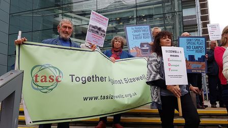 Action groups protest outside Endeavour House, as consultations take place over Sizewell C. PICTURE: