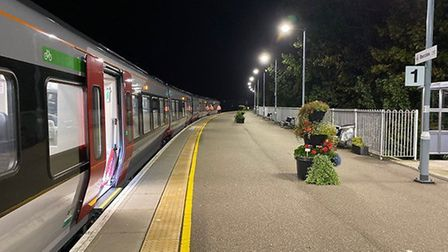The new Stadler train makes its first stop at Beccles. Picture: JAMES GARTHWAITE