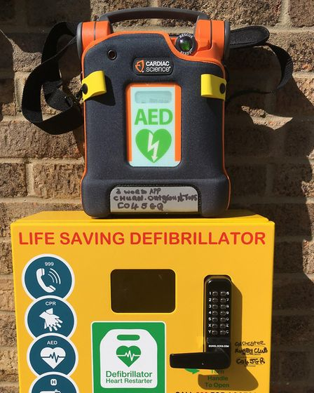 A new defibrilator unit which has been marked up with the details of where it has come from Picture: