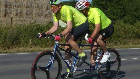 West Suffolk Wheelers John Steed (in front ) and Mark Eastwood �rode 24:23 in the DAP 10. Picture: F
