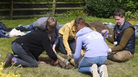 Local high school students were invited by the University of Cambridge to dig at Bylthburgh Picture: