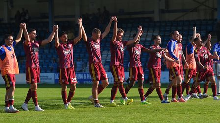 The Ipswich Town players celebrate at full-time. Picture: PAGEPIX