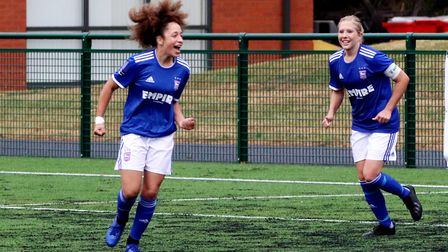 Abbie Lafayette celebrates her goal with Amanda Crump during Town Women's 7-0 win over Stevenage Pic