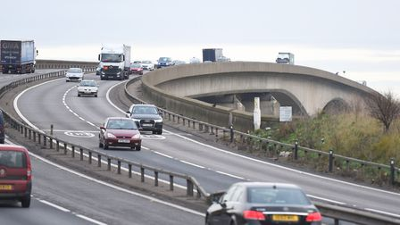 There has been traffic chaos on the Orwell Bridge tonight following a series of incidents Picture: A
