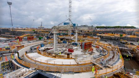 A view of nuclear island, where the first reactor will be based, at Hinkley Point C two years into t