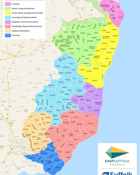 A map of the eight Community Partnerships in east Suffolk Picture: EAST SUFFOLK COUNCIL