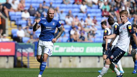 James Norwood celebrates his penalty conversion at Bolton Picture Pagepix Ltd
