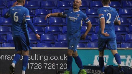 Matt Blake celebrates his second goal in the Suffolk Premier Cup final victory over Felixstowe & Wal