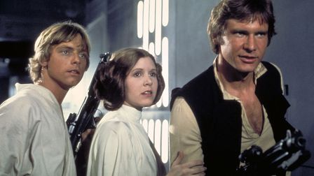 Mark Hamill as Luke Skywalker, Carrie Fisher as Princess Leia and Harrison Ford as Han Solo, in the