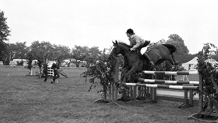 A horse jumping contest got underway at the Tendring Show at Lawford in 1974 Picture: NEWLING GOODE