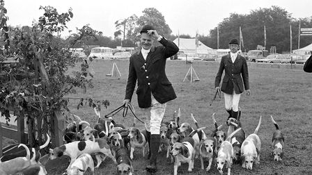 Horse riders lead the dogs out of the ring after their event at the Tendring Show in 1974 Picture: N