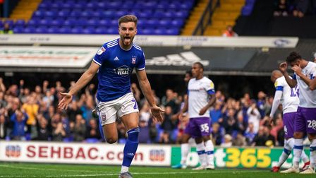 Luke Garbutt wheels away after giving Town a 1-0 lead against Tranmere. Picture: Steve Waller