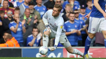 Tomas Holy rolls out the ball early in the Ipswich Town v Tranmere Rovers (Sky Bet League one) match