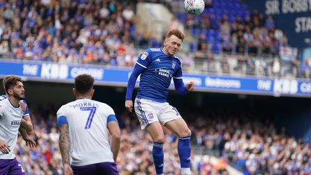 Jon Nolan heads forwards during the Ipswich Town v Tranmere Rovers (Sky Bet League one) match. Pi
