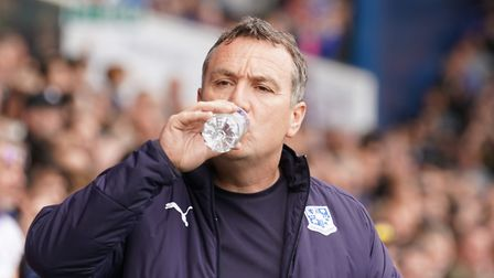 Tranmere Rovers manager Micky Mellon takes a drink during the match. Picture: Steve Waller www
