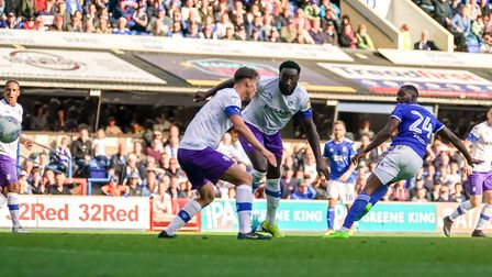 Kane Vincent-Young scores Town's fourth in the 4-1 victory over Tranmere. Picture: Steve Waller
