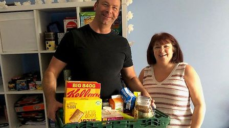 Neil Bevis and Angela Gregg from Hadleigh Foodbank. Picture: HADLEIGH FOODBANK