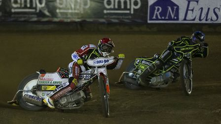 Niels-Kristian Iversen & Cameron Heeps in heat 1 of the Ipswich Witches v Poole Pirates play-off sem