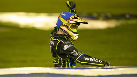 Jake Allen salutes the crowd at Foxhall during the Ipswich Witches v Poole Pirates play-off semi fin