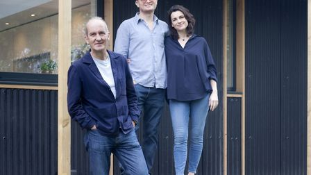 Kevin McCloud with homeowners Toby and Libby Leeming in west Suffolk whose home will appear on Grand