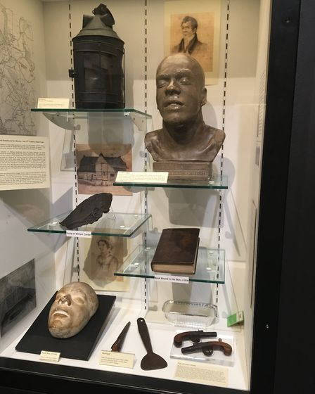 William Corder's death mask and book about the murder bound in his own skin in the room under the ro