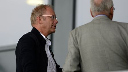 Ipswich Town owner Marcus Evans in the stands at Burton. Photo: Pagepix