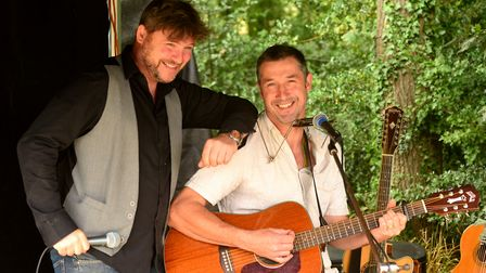 Mat Bayfield (left) and Eric Sedge, The Broadside Boys perform at the Mid Suffolk Light Railway at W