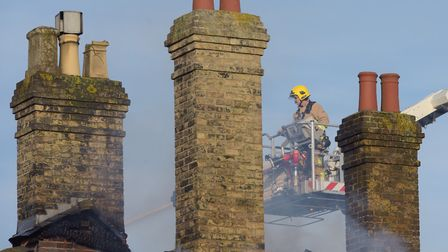 Firefighters tackle a blaze at Saxmundham railway station Picture: SARAH LUCY BROWN