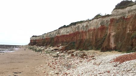 The distinctive cliffs at Hunstanton, close to the start of the parkrun, with their lower reddish li