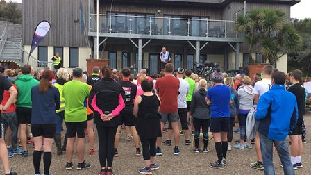 The briefing before the start of the inaugural Hunstanton parkrun, in front of the sailing club. Pic