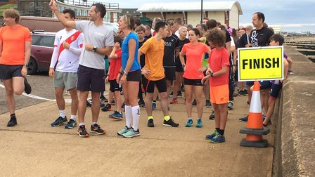 Runners, walkers and joggers congregate before the start (not the finish!) of the inaugural Hunstant