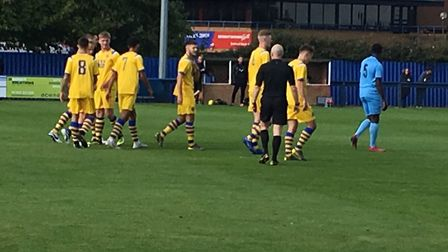 AFC Sudbury players celebrate Tom Maycock's fitst-half equaliser, at Brentwood Centre Arena. Picture