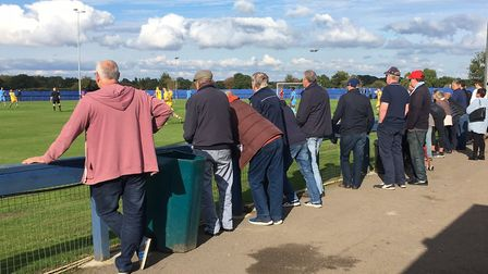 Supporters enjoy the autumnal sunshine at Brentwood Centre Arena, for the Brentwood Town versus AFC