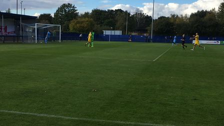 Tom Maycock has just slotted home AFC Sudbury's equaliser to make it 1-1 against Brentwood Town. Pic