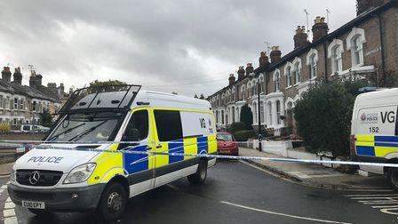 Wellesley Road remains closed as officers continue their investigations Picture: SOPHIE BARNETT