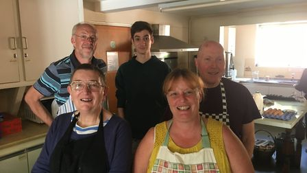 The five bakers - left to right, Philip Tallent, Gloria Theobald, James Kingdom, Josie Hopps and Rog