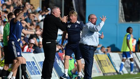 Paul Lambert and Steve Evans getting animated during the second half at Gillingham. Photo: Pagepix
